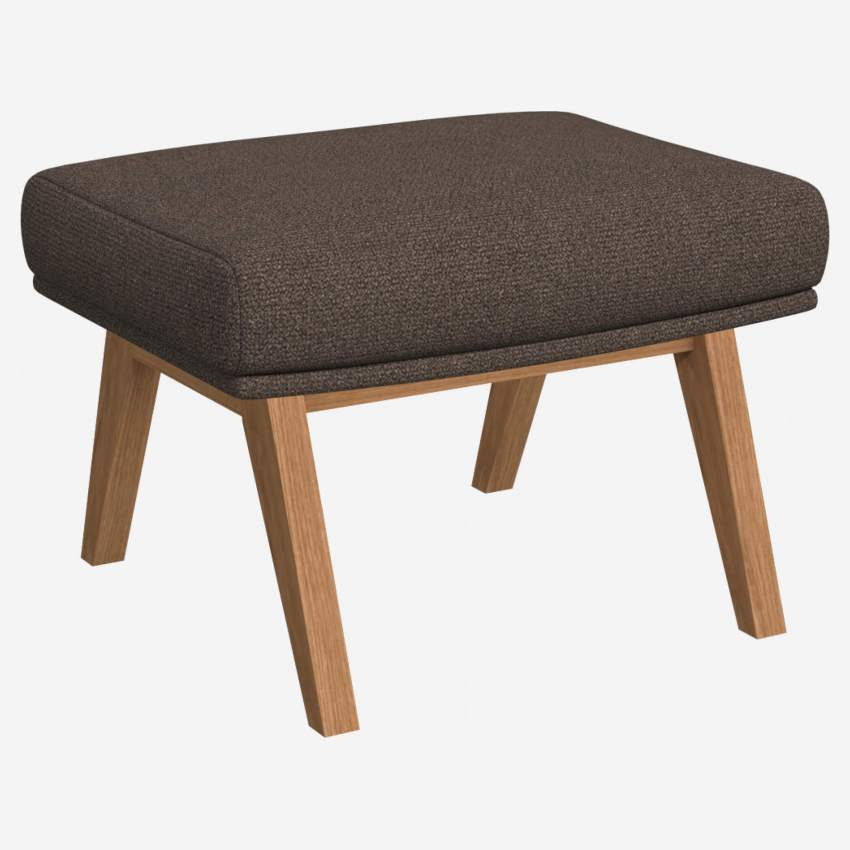 Footstool in Lecce fabric, muscat with oak legs