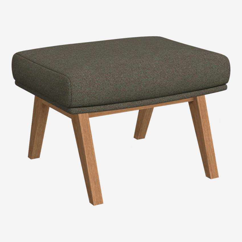 Footstool in Lecce fabric, slade grey with oak legs