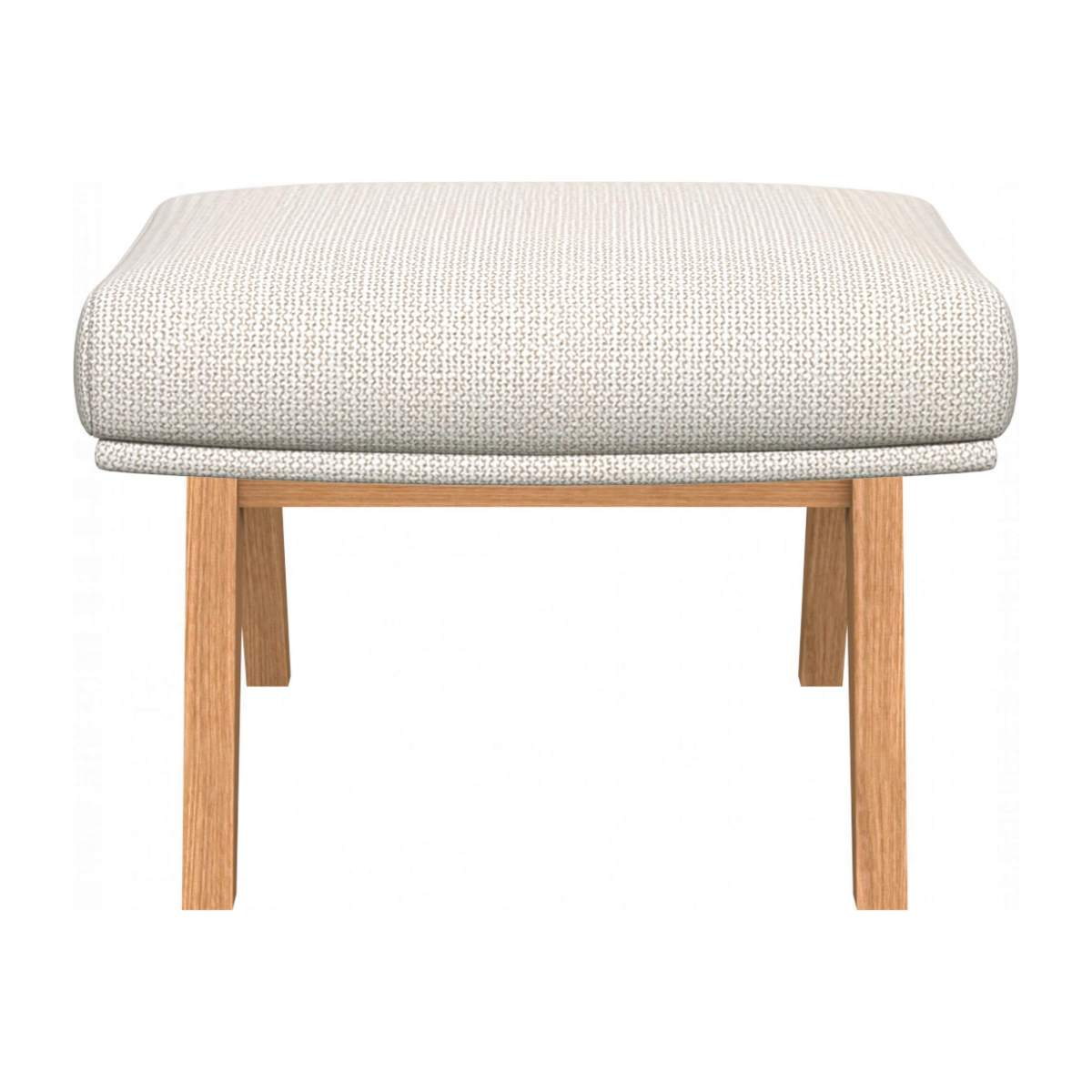 Footstool in Fasoli fabric, snow white with oak legs n°1
