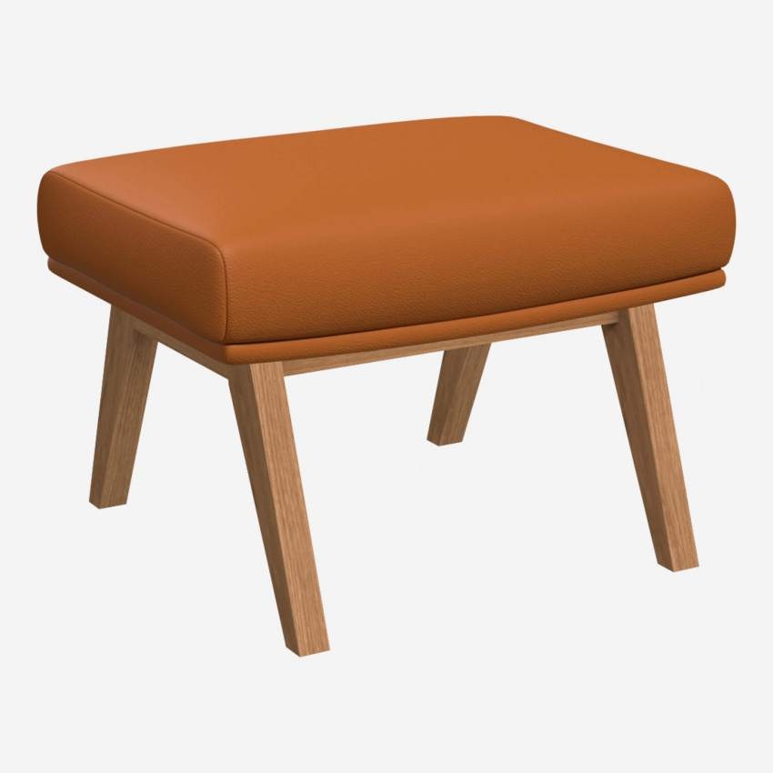 Footstool in Savoy semi-aniline leather, cognac with oak legs