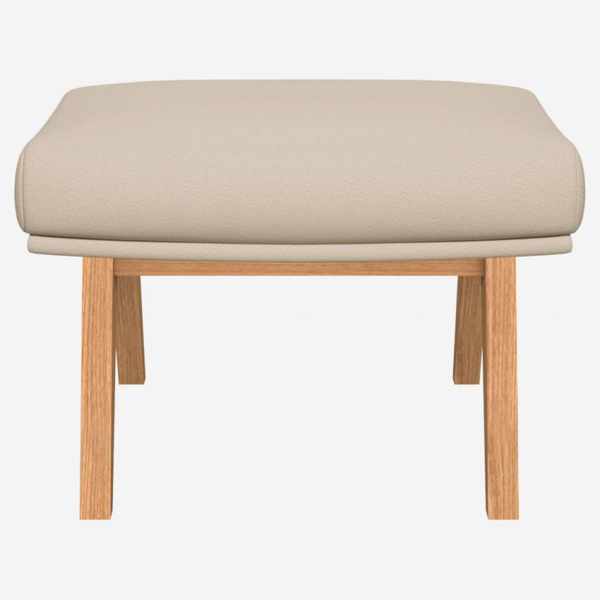 Footstool in Savoy semi-aniline leather, off white with oak legs
