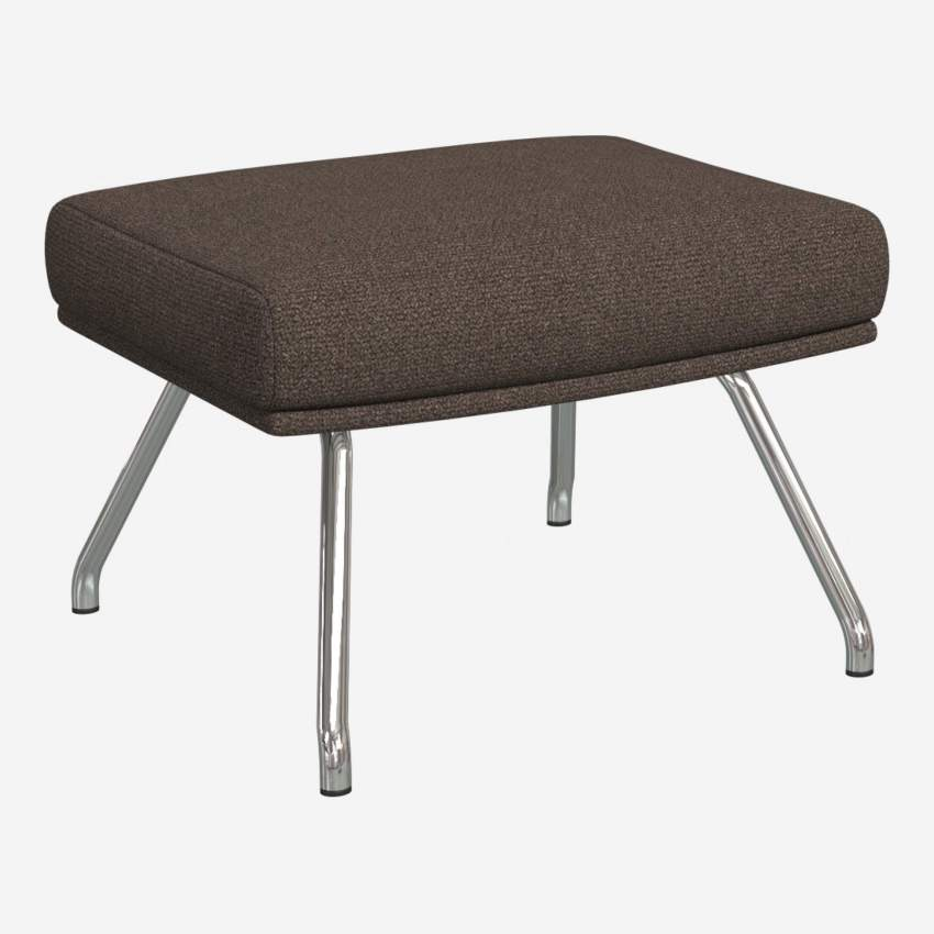 Footstool in Lecce fabric, muscat with chromed metal legs
