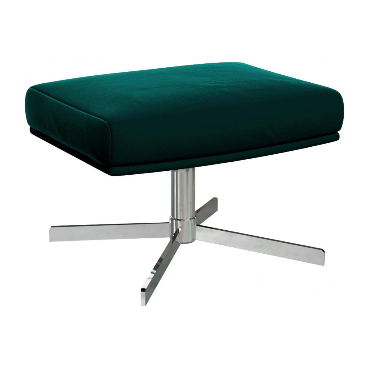 Footstool in Super Velvet fabric, petrol blue with metal cross leg n°2