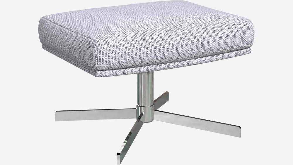 Footstool in Fasoli fabric, grey sky with metal cross leg