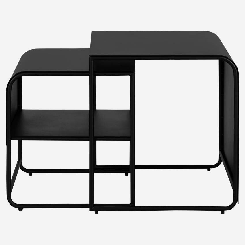 Lot de 2 tables d'appoint en métal - Noir