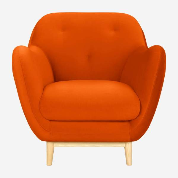 Fauteuil en velours - Orange - Design by Adrien Carvès