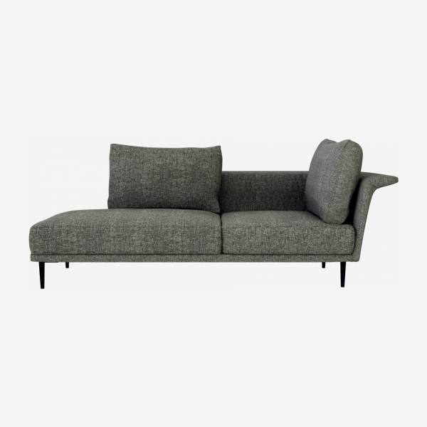 Chaiselongue, links aus Stoff - Grau