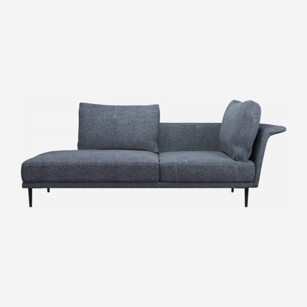 Chaiselongue, links aus Stoff - Blau