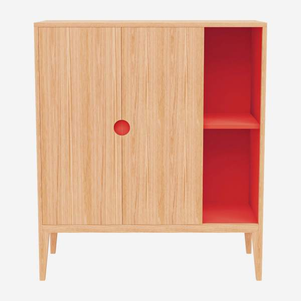 Highboard aus Eiche - Naturfarben und Orange - Design by Adrien Carvès