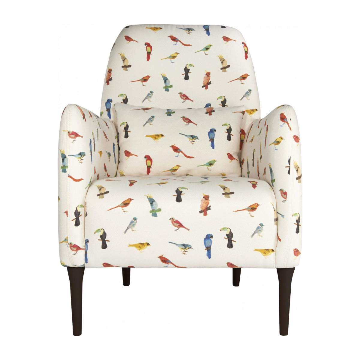 Fabric armchair, birds pattern n°1