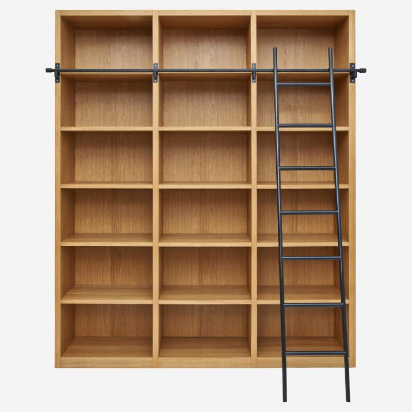 Wooden bookcase with ladder