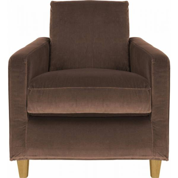 Chester Fauteuil en velours - Taupe - Pieds chêne
