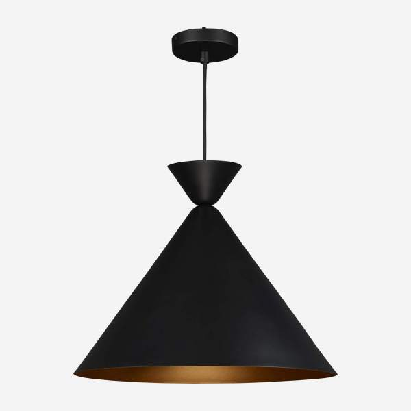 Triangular ceiling lamp, black and gold