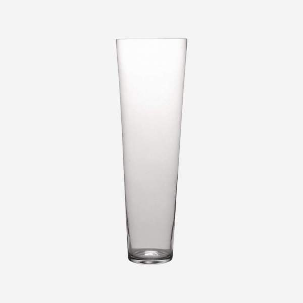 Vase conique 70cm en verre transparent grand modèle