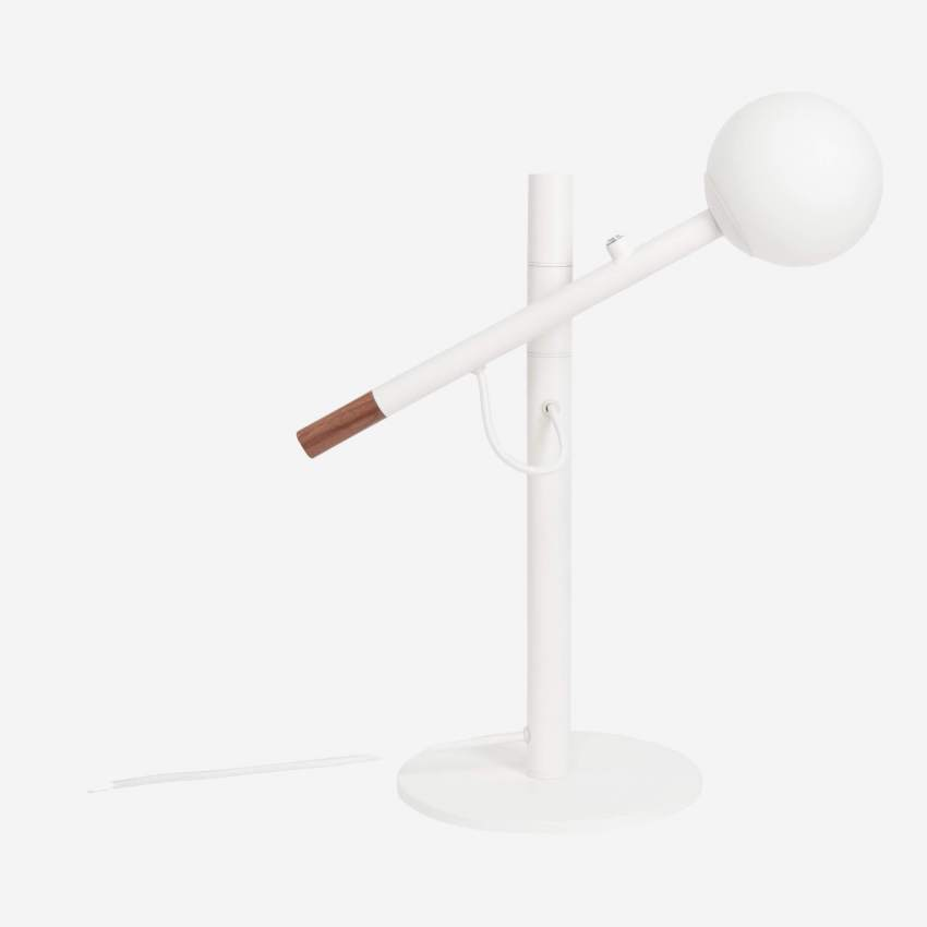 Metal and wood table lamp, white - Design by Gaston Lobet