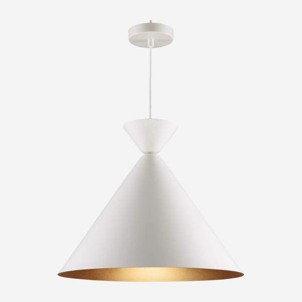 Triangular ceiling lamp, white and copper