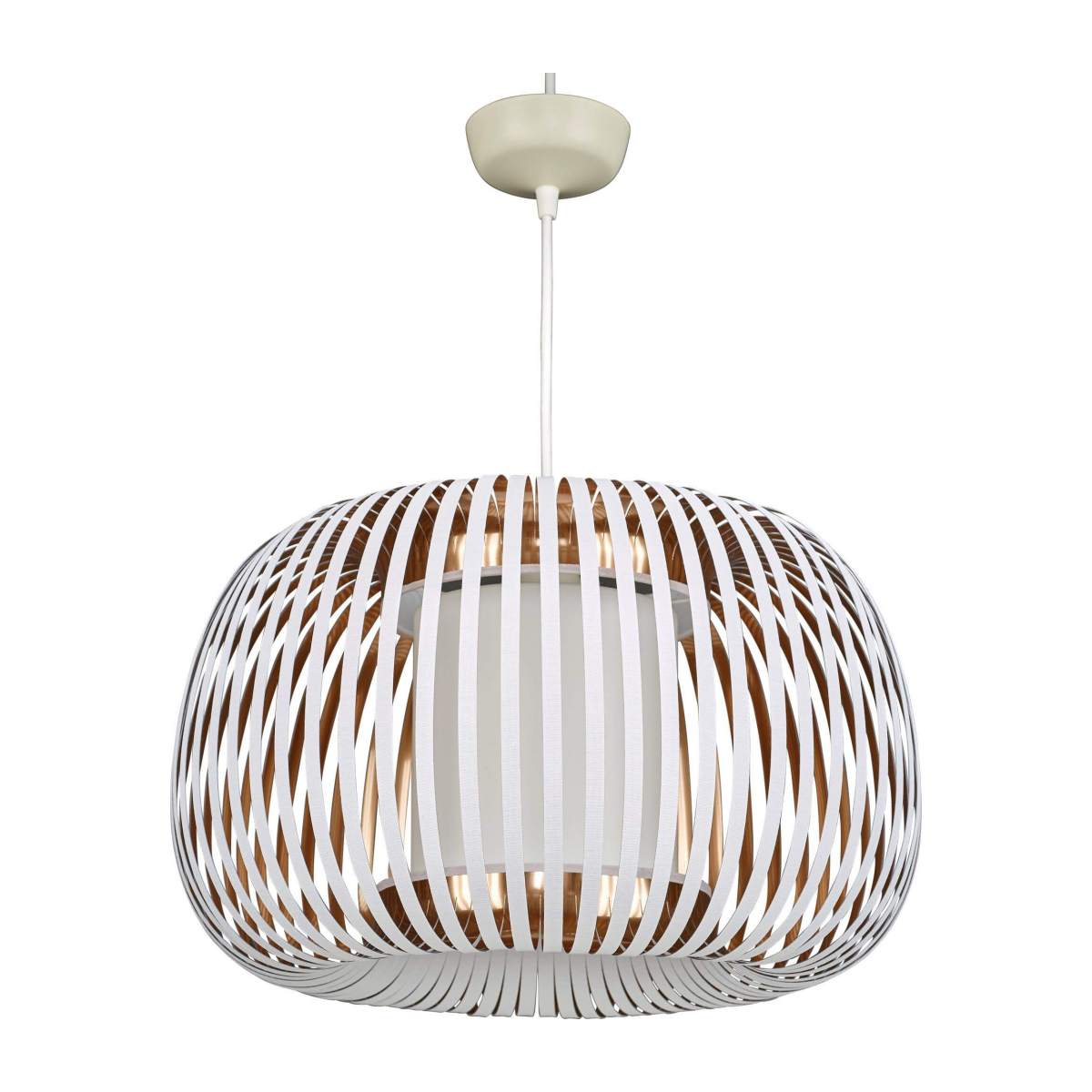 Ceiling lamp in PVC, white and copper n°1