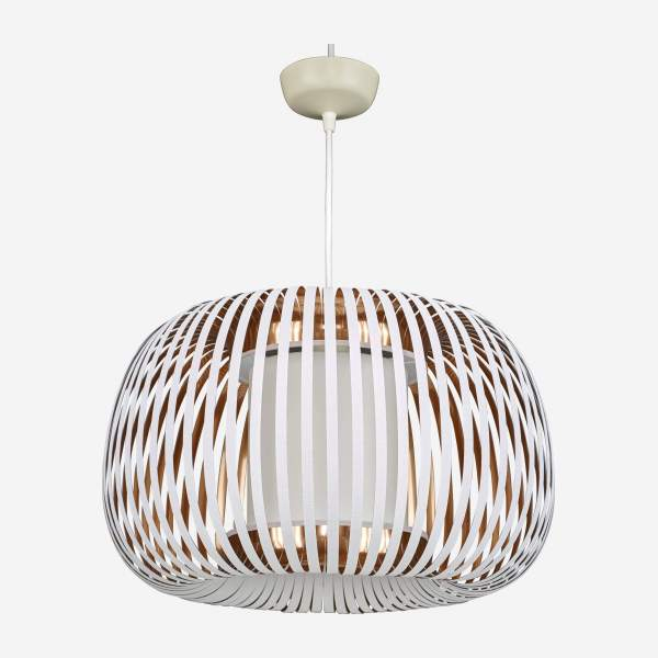Pendant lampshade 45x27cm White PVC and copper