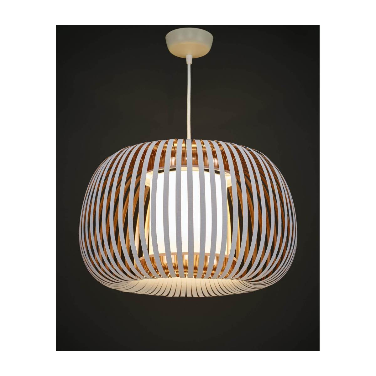 Ceiling lamp in PVC, white and copper n°2