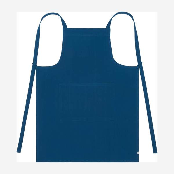 Apron made of cotton, blue cobalt