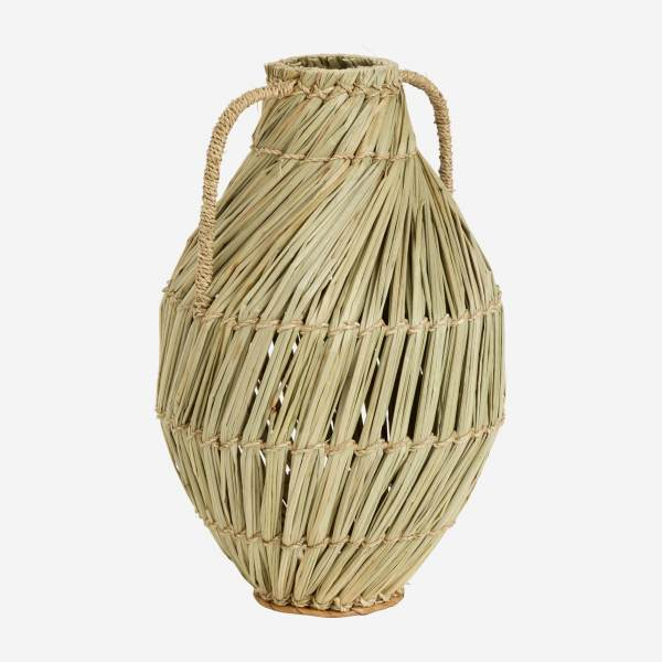 Jarrón decorativo de mendong - Natural - 34,5 cm