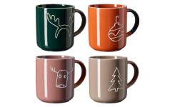 Lot de 4 mugs en grès - 420 ml - Multicolore