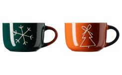 Lot de 2 mugs en grès - 535 ml - Multicolore