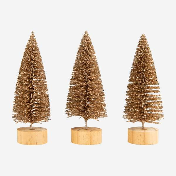Décoration de Noël - Lot de 3 sapins à poser - Rouge