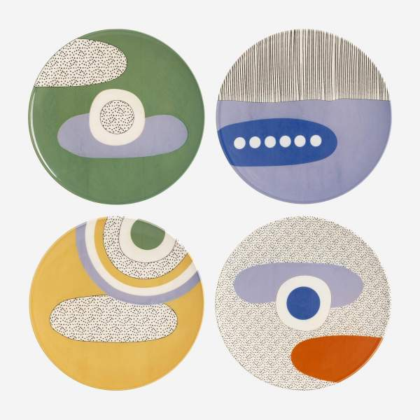 Lot de 4 assiettes plates en faïence - 27,5 cm - Design by Floriane Jacques