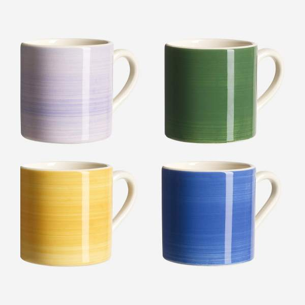 Lot de 4 mugs en faïence - Design by Floriane Jacques