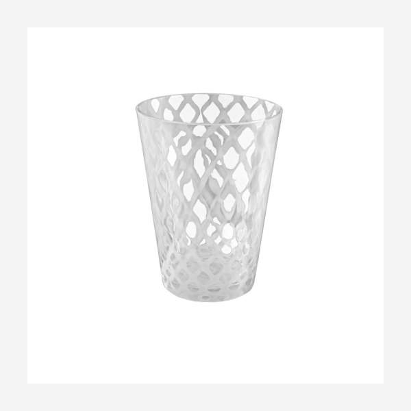 White and clear glass tealight candle holder 20cm