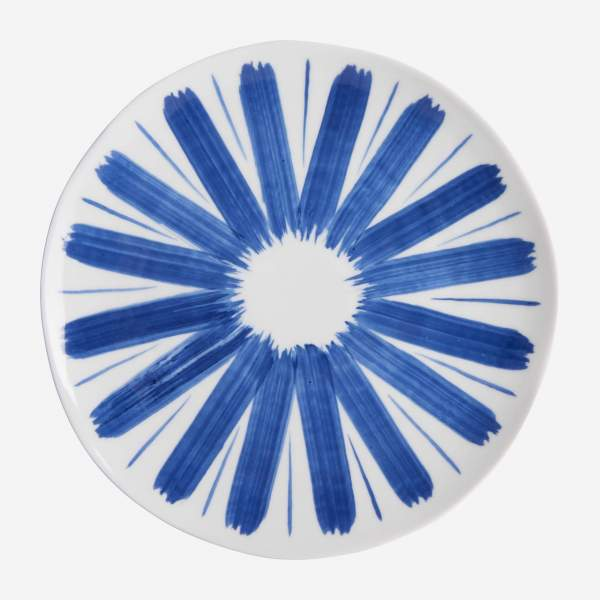Dessert plate made of porcelain, white and blue
