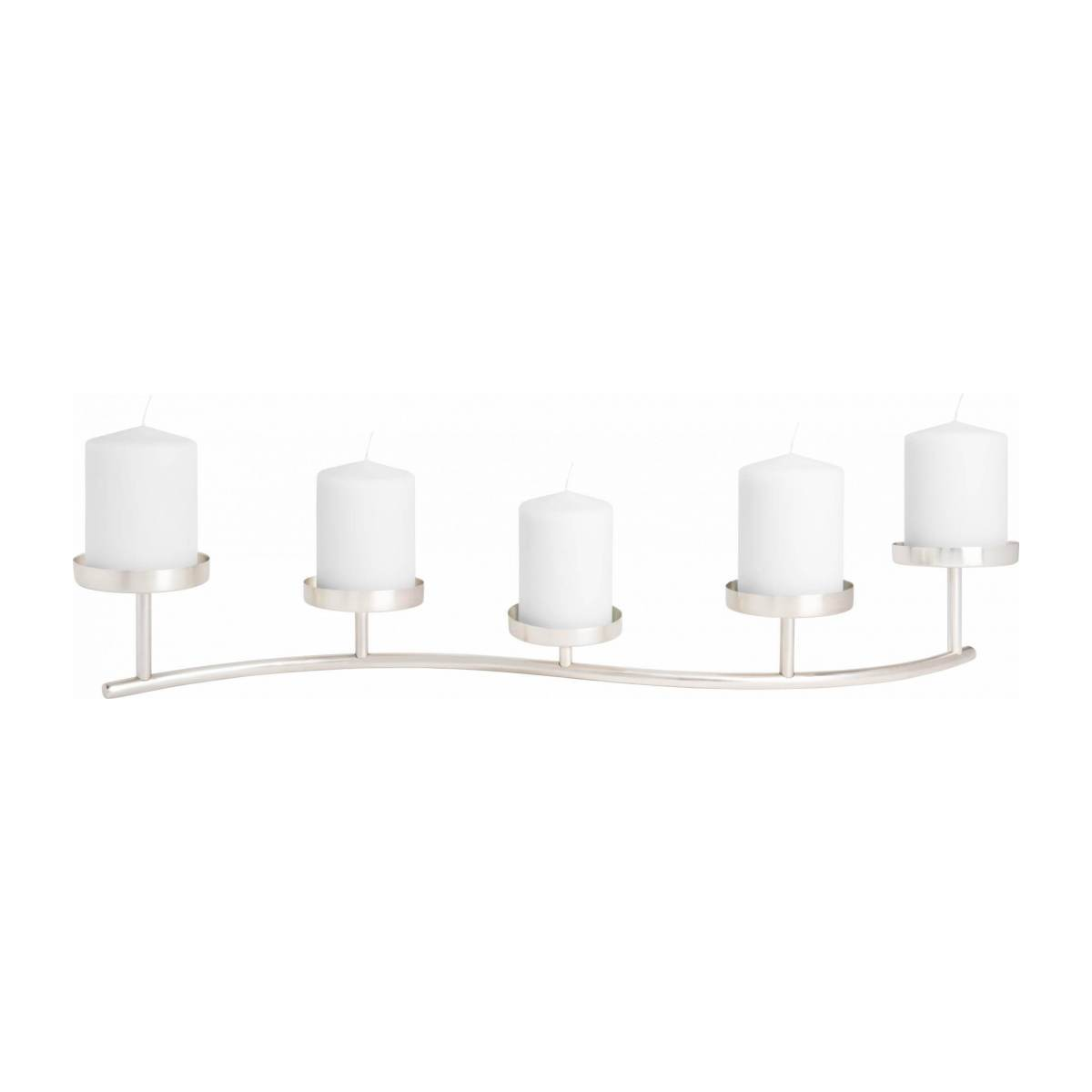 Candle holder made of metal for 5 candles, silver n°2