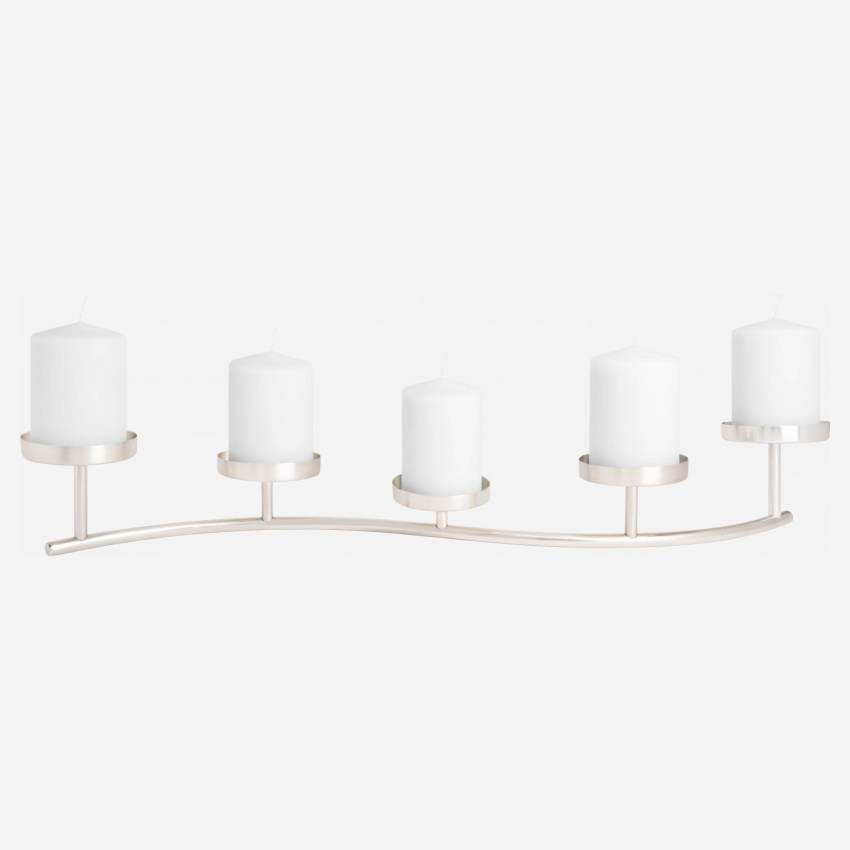 Candle holder made of metal for 5 candles, silver