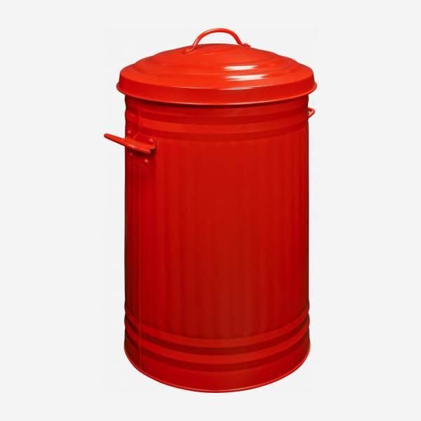 Round trash can, red 52L