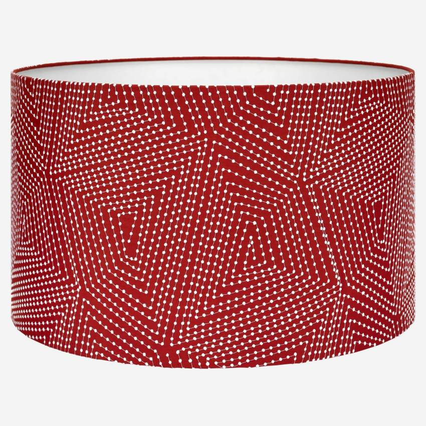 Lampshade 53cm, red with white patterns