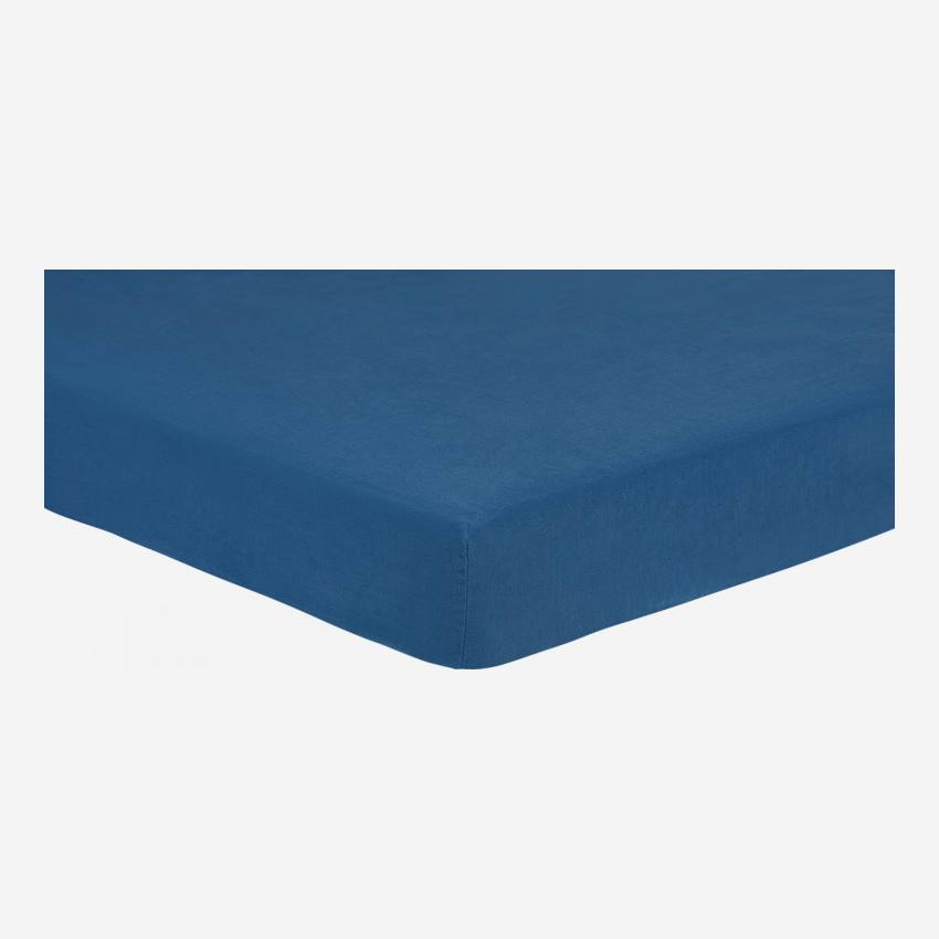 Fitted sheet 140x200 made in flax, blue