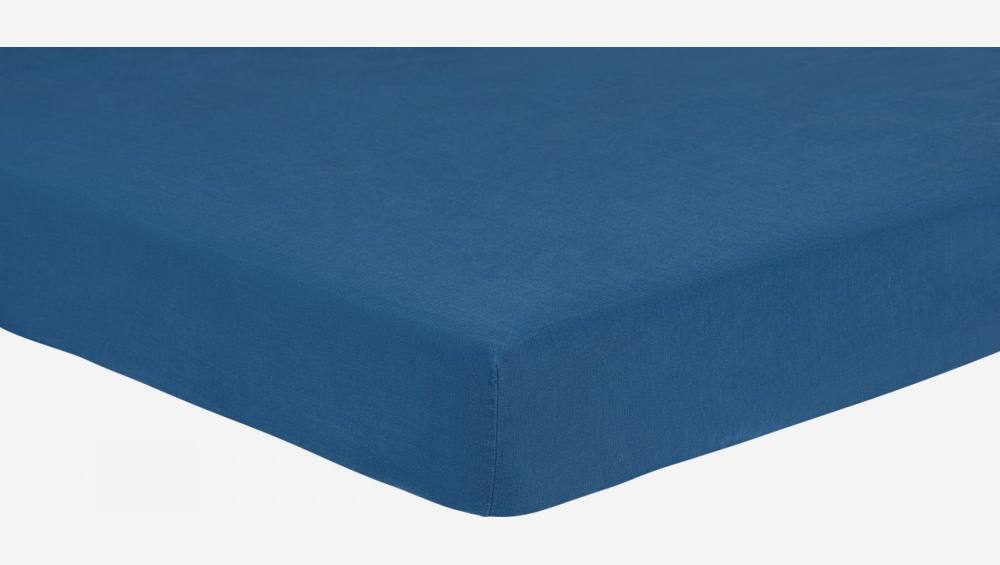 Fitted sheet 180x200 made in flax, blue