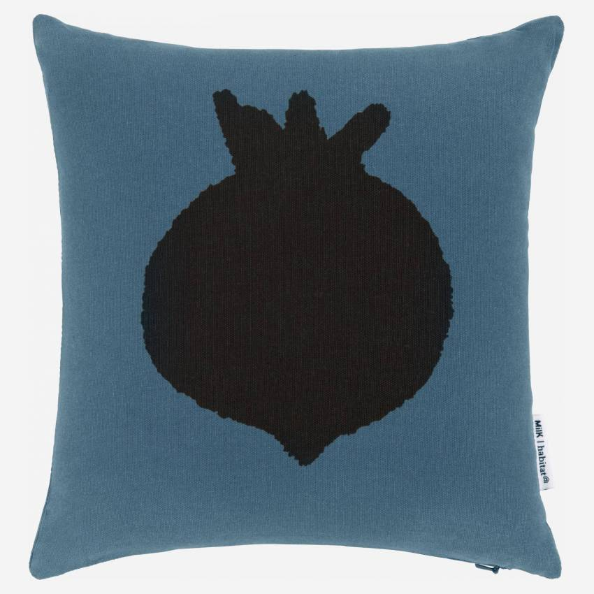 Cushion made of cotton 30x30, blue with radish pattern