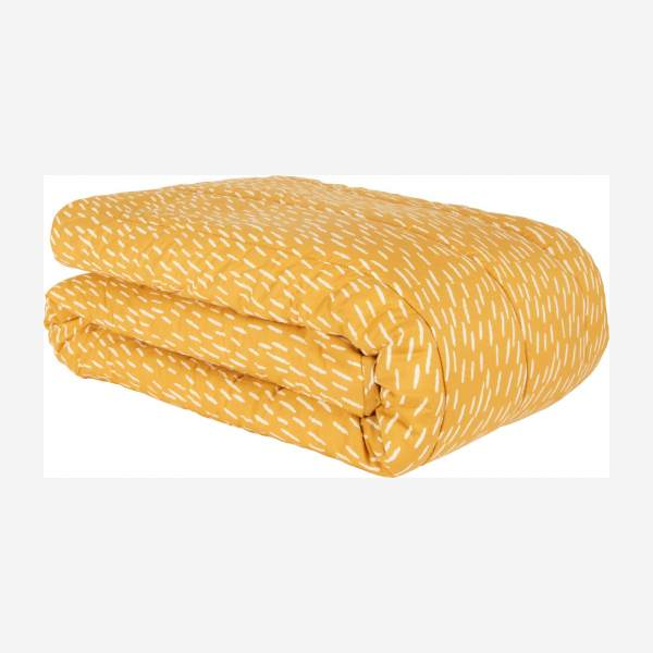 Bedspread, yellow with patterns