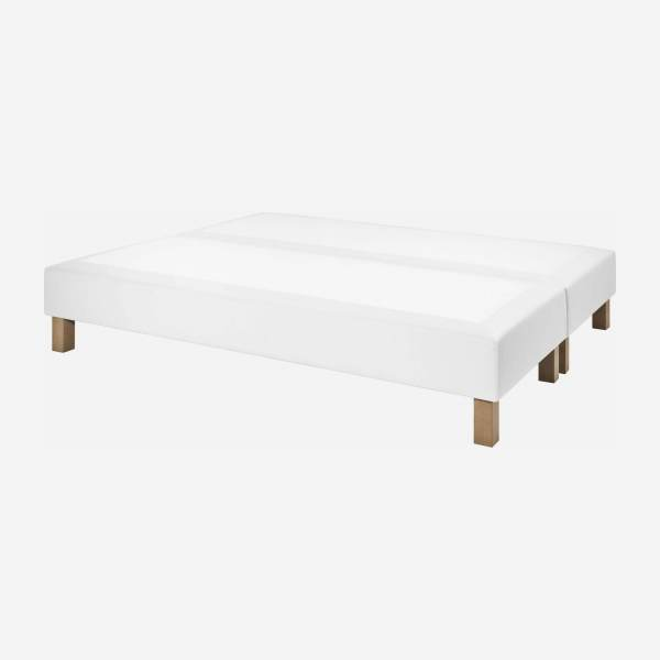 Slatted divan 2x80x200cm in imitation leather, white