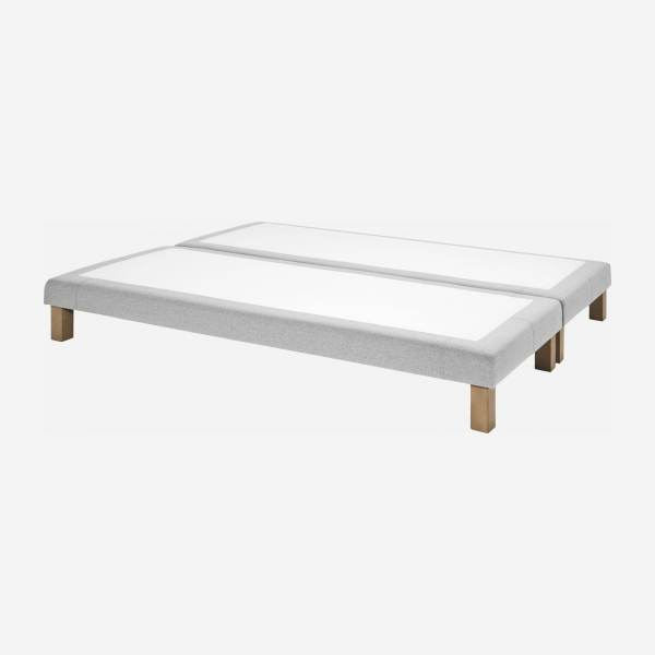 Slatted divan 2x80x200cm in fabric, mouse-grey