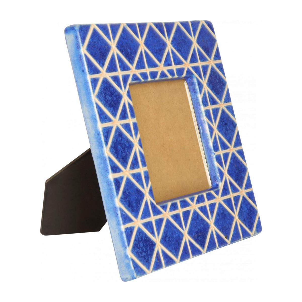 Photo frame made of earthenware 21x21cm, blue n°1