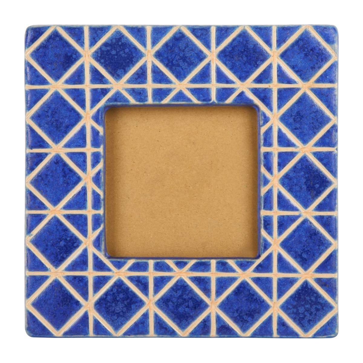 Photo frame made of earthenware 21x21cm, blue n°2