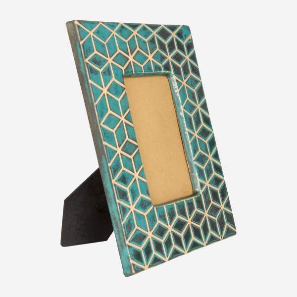 Photo frame made of earthenware 23x28cm, green
