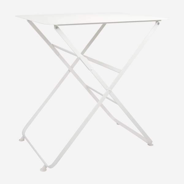 Folding table made of metal, white