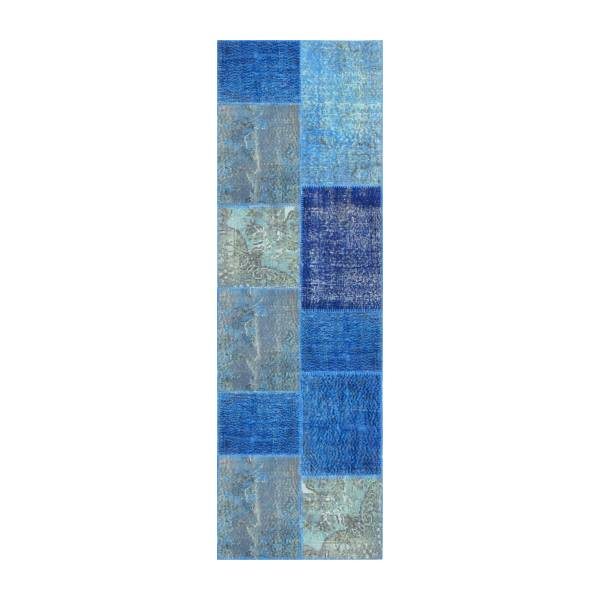 Carpet made of wool 80x250, shades of blue