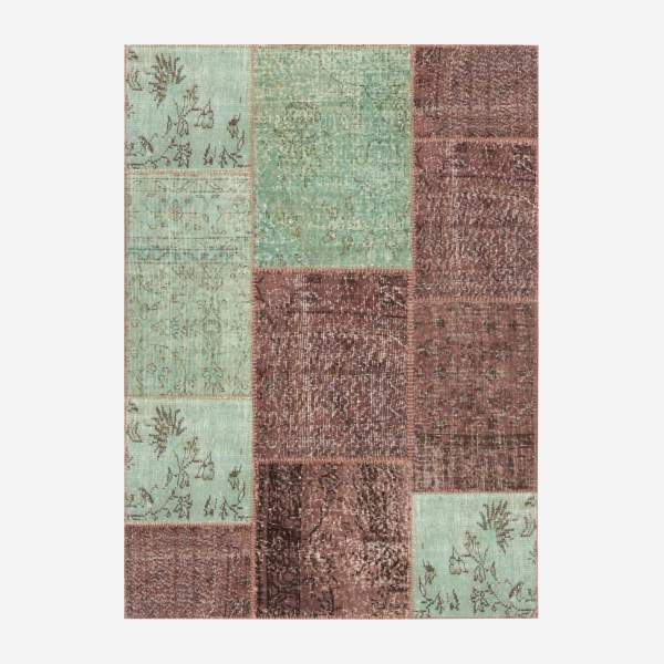 Carpet made of wool 130x180, pink, green and brown