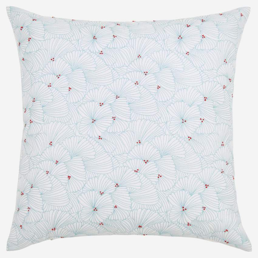 Embroidered quilted cushion made of cotton 50x50cm