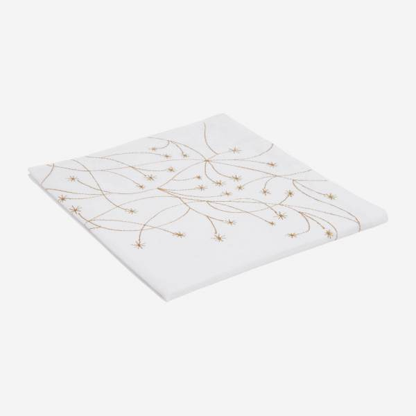 Embroidered napkin made of cotton, white and golden